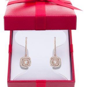 Diamond halo drop 1/2 ct rose gold
